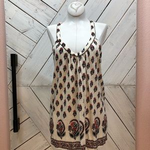Lucky Brand Floral Sleeveless Top Metal Detail